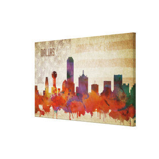 Dallas, TX | Watercolor City Skyline Canvas Print
