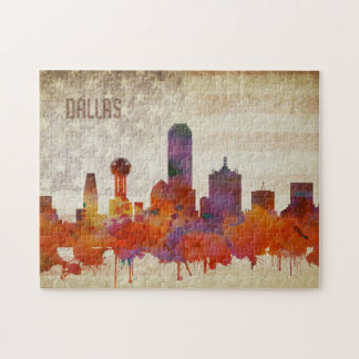 Dallas, TX | Watercolor City Skyline Jigsaw Puzzle