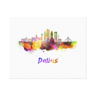 Dallas V2 skyline in watercolor Canvas Print
