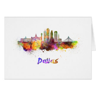 Dallas V2 skyline in watercolor Card