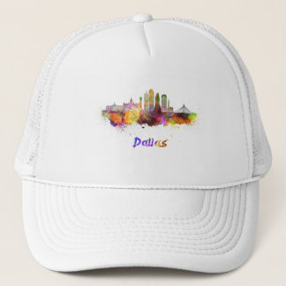 Dallas V2 skyline in watercolor Trucker Hat