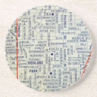 Dallas Vintage Map Beverage Coaster