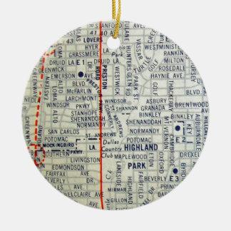 Dallas Vintage Map Ceramic Ornament