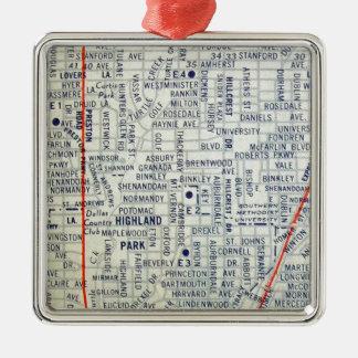 Dallas Vintage Map Metal Ornament
