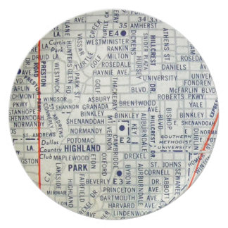 Dallas Vintage Map Plate