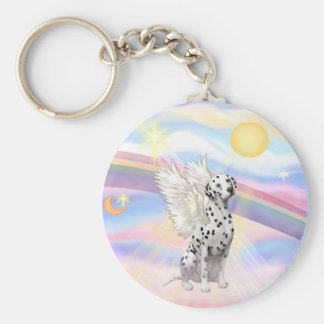 Dalmatian Angel Basic Round Button Keychain
