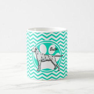 Dalmatian Aqua Green Chevron Mug