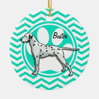 Dalmatian Aqua Green Chevron Ornaments