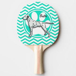 Dalmatian Aqua Green Chevron Ping-Pong Paddle