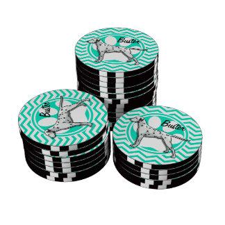 Dalmatian Aqua Green Chevron Poker Chips Set