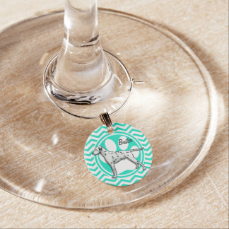 Dalmatian Aqua Green Chevron Wine Glass Charm