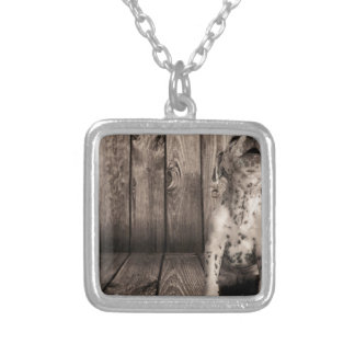 Dalmatian baby silver plated necklace