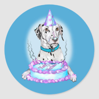 Dalmatian Cake Face Birthday Round Sticker