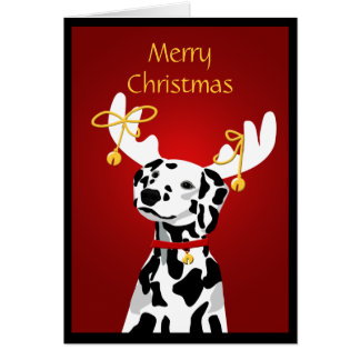 Dalmatian Christmas Dog with Deer Antlers Greeting Card