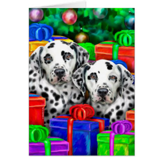 Dalmatian Christmas Open Gifts Card