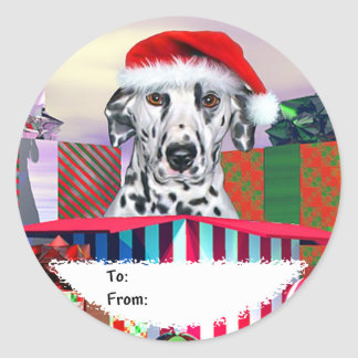 Dalmatian Christmas Surprise Gift Tags