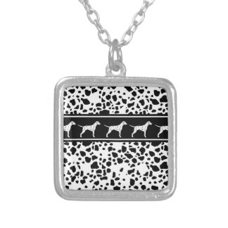 Dalmatian dog pattern silver plated necklace