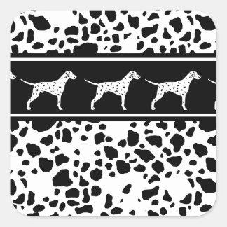 Dalmatian dog pattern square sticker