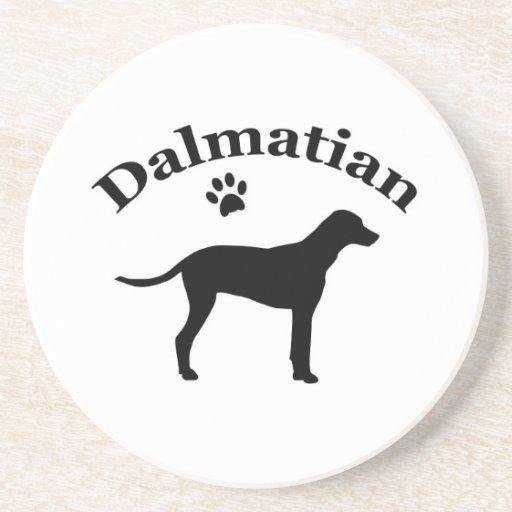 Dalmatian dog pawprint silhouette coaster