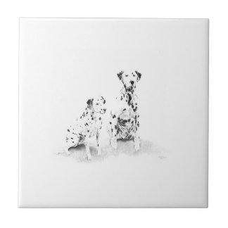 Dalmatian Dog Portrait Ceramic Tile
