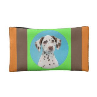 Dalmatian dog portrait on color on  a bag makeup bags