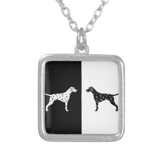Dalmatian dog silver plated necklace