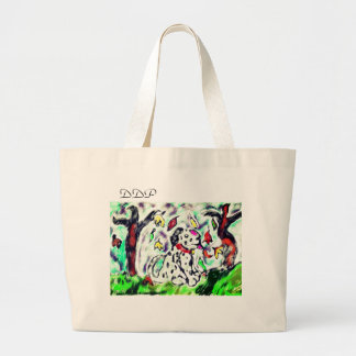 Dalmatian fall art large tote bag