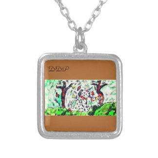 Dalmatian fall art silver plated necklace