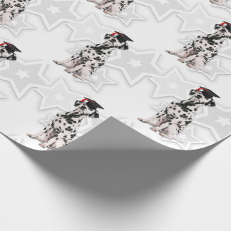 Dalmatian Firehouse Dog Graduate with Stars Wrapping Paper