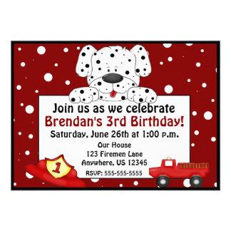 Dalmatian Fireman Birthday Invitation