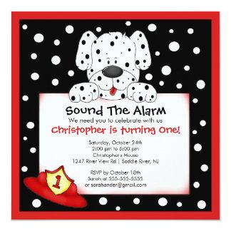 "Dalmatian Fireman Birthday Party 5.25"" Square Invitation Card"