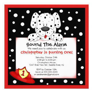 Dalmatian Fireman Birthday Party Personalized Invites