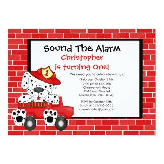 "Dalmatian Fireman Fire Truck Birthday Party 5"" X 7"" Invitation Card"