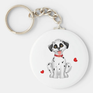 Dalmatian hearts basic round button keychain