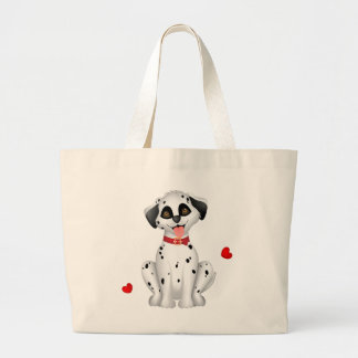 Dalmatian hearts large tote bag