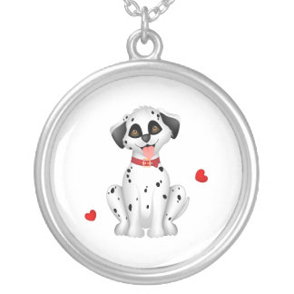 Dalmatian hearts silver plated necklace