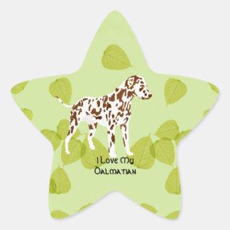 Dalmatian on Green Leaves Design Star Sticker