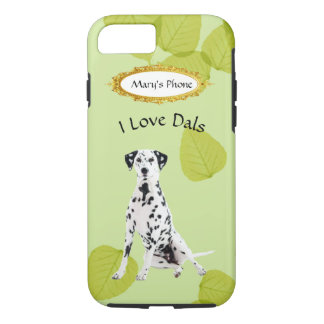 Dalmatian on Green Leaves w/Owners Name iPhone 8/7 Case