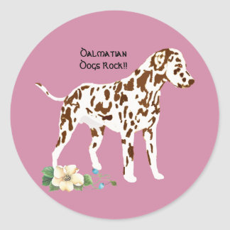 Dalmatian, on Mauve with floral Round Sticker