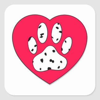 Dalmatian Paw Print In Red Heart Square Sticker