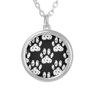 Dalmatian Paw Print Pattern Silver Plated Necklace