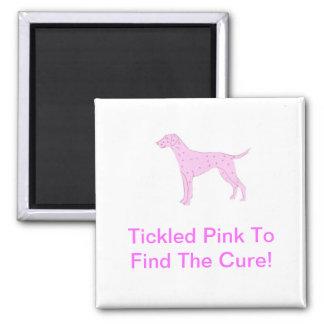Dalmatian Pink Dog Square Magnet
