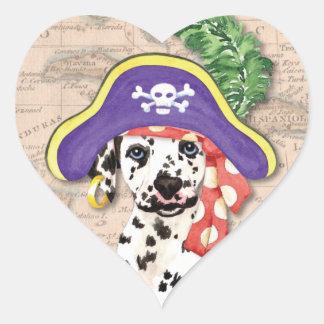 Dalmatian Pirate Heart Stickers
