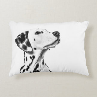 Dalmatian portrait looking up on a white pillow