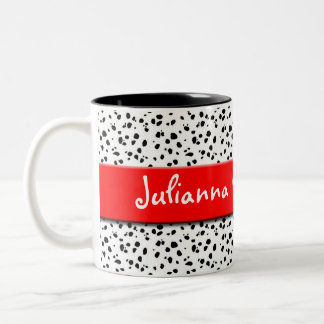 Dalmatian Print with Red and Name Two-Tone Coffee Mug