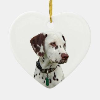 Dalmatian puppy love heart ornament, gift ceramic ornament