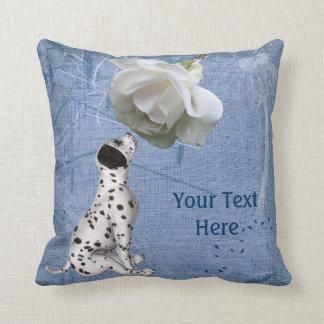 Dalmatian Puppy White Rose Animal Throw Pillow