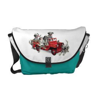 Dalmatian Pups With Fire Truck Messenger Bag