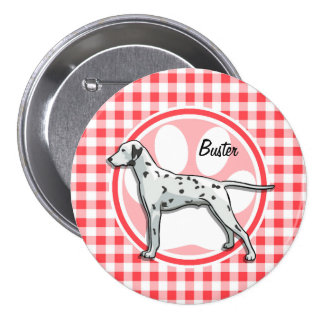 Dalmatian; Red and White Gingham 3 Inch Round Button
