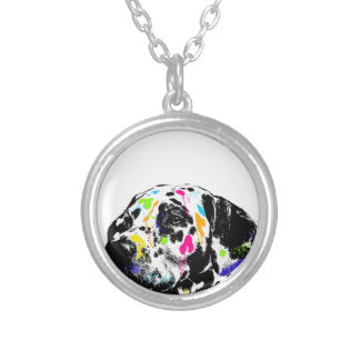 dalmatian silver plated necklace